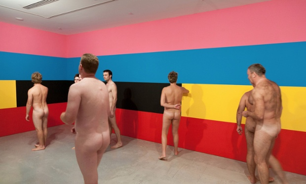 A nude tour group at the Museum of Contemporary Art Australia, Sydney, viewing Robert Owens Sunrise 3_ Photograph Christo Crocker_Museum of Contemporary Art Australia